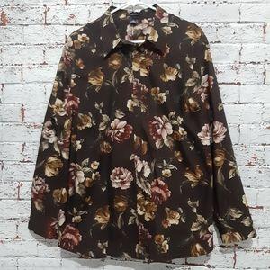 Chaps Women's Floral Button Down Shirt 2XL